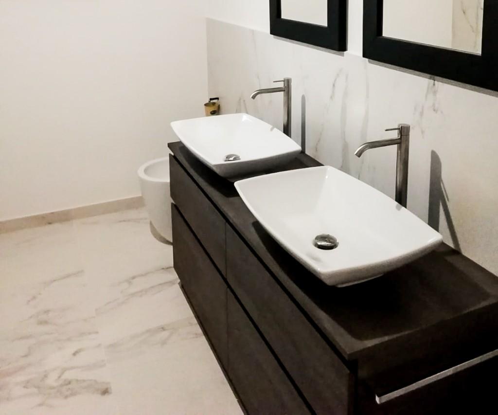 mobile bagno doppio legno laccato nero Cerasa